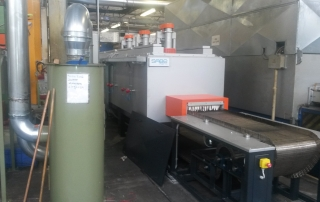 Continuous furnace for tempering.