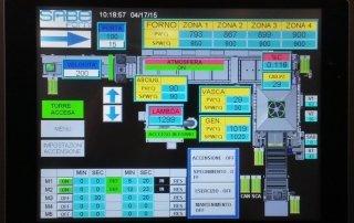 Control panel on heat treatment furnace.